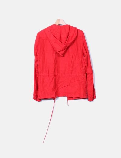 Chaqueton lino rojo con capucha