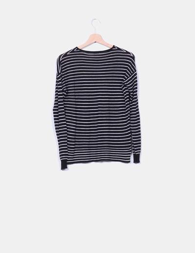 Jersey tricot azul marino rayas blancas