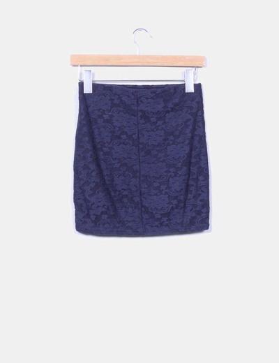 Mini falda azul marino encaje