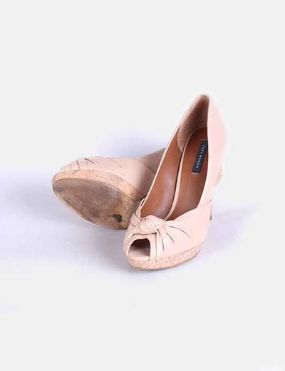 Zapato peep toe nude