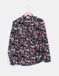 Blusa negra estampada floreada Suiteblanco