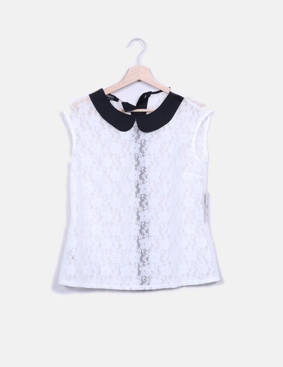Top blanco calado con cuello negro Suiteblanco
