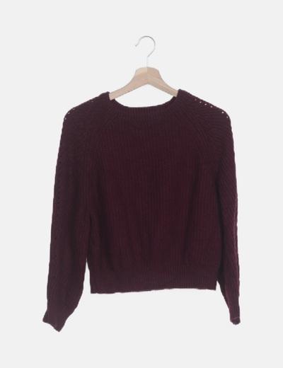 Jersey tricot burdeos
