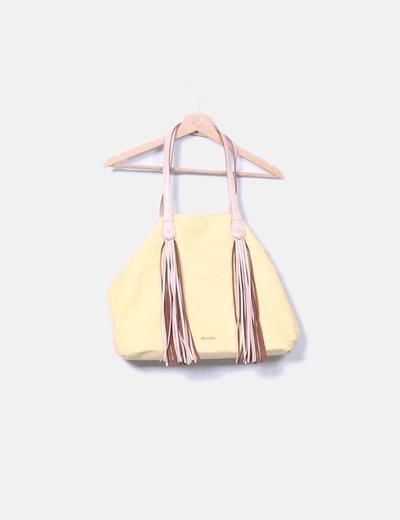 Bolso shopper amarillo con flecos