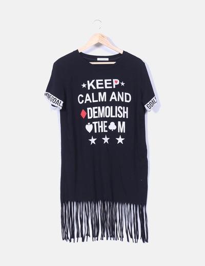 Vestido negro print 'Keep calm' con flecos