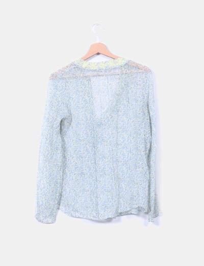 Blusa floral de seda
