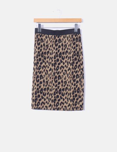 Falda elástica tricot animal print