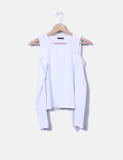 Camiseta descuento Canalé Descubiertos 75 Hombros Blanca Zara f68q6