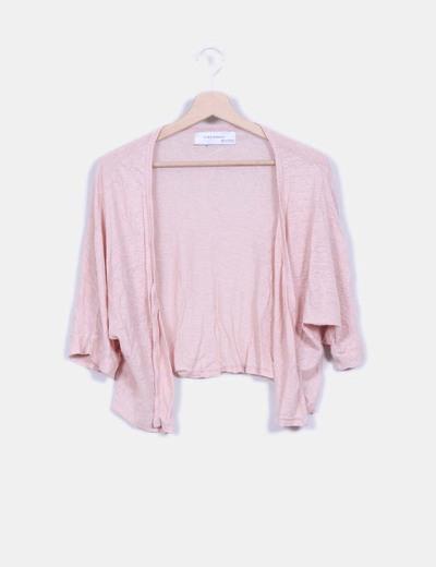 Cárdigan corto rosa palo Zara