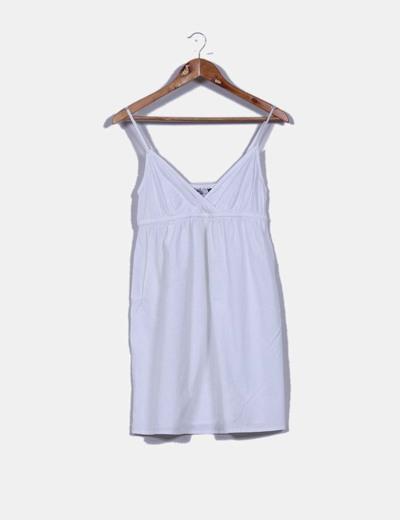 Vestido mini blanco escote en pico Kiabi