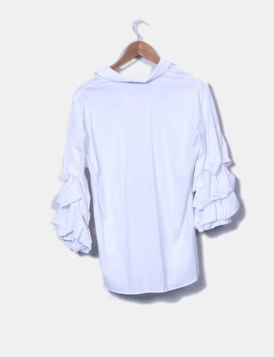 Zara T-shirt blanc à manches bouffantes (réduction 75%) - Micolet 53cd544c9fc7