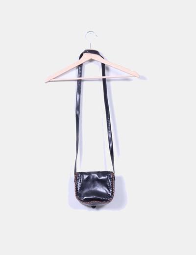 Mini bolso negro con detalles marrones