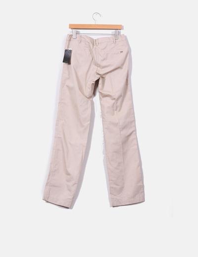 Pantalon de pinzas beige recto