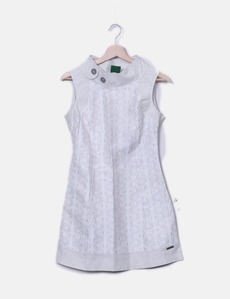 491e92474 Vestido beige print detalle botones Amarillolimon