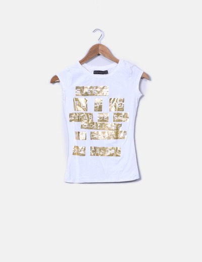 T-shirt blanc avec motif en or Zara