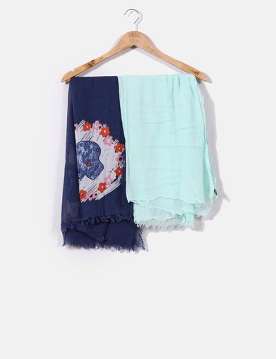 Conjunto de pañuelo azul marino estampado y turquesa Mango
