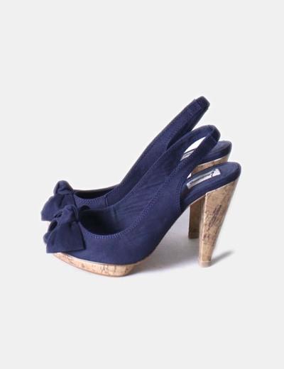 Azul Lazo Stradivarius 69 descuento Zapato Con Toe Peep Marino UTwZ5qwB