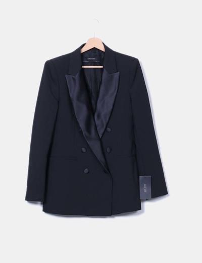 Blazer negra doble botonadura Zara