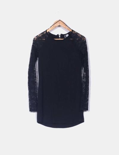 Vestido negro encaje H&M