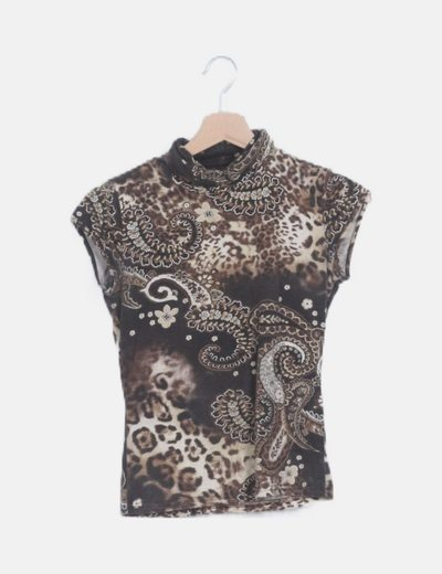 Camiseta marrón estampada glitter