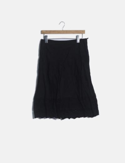 Falda midi negra guipur