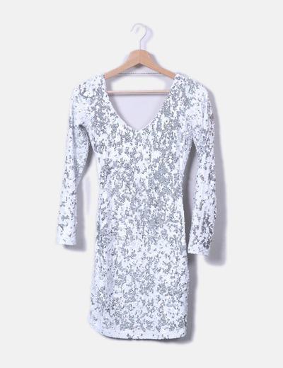 23dae4bf4fc1 Bershka Weißes und silbernes Paillettenkleid (Rabatt 77 %) - Micolet