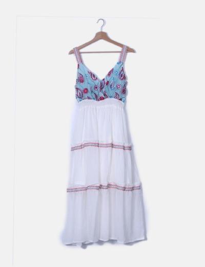 Vestido fluido blanco y azul con bordado