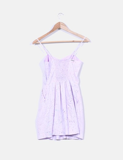 Mini vestido lila motas multicolor