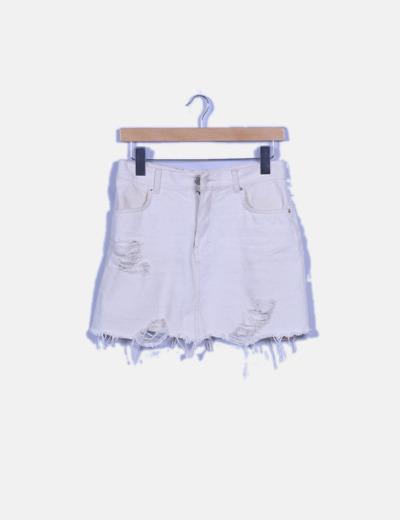 Mini falda blanco roto ripped