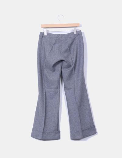 Pantalon gris jaspeado con raya