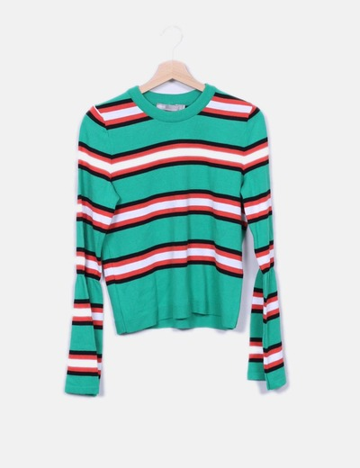 Jersey tricot verde con rayas Asos