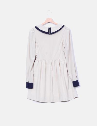 Vestido babydoll bicolor