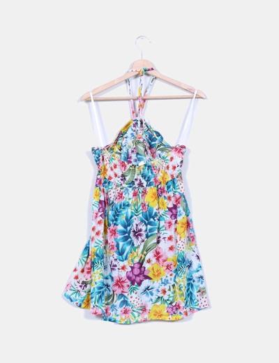 Camisola floral con tiras al cuello