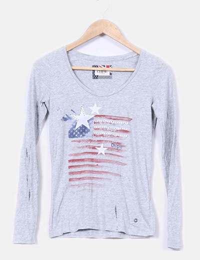 T-shirt gris imprimé Chipie