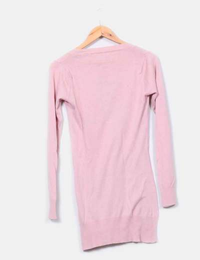 Tricot largo rosa palo con escote en pico