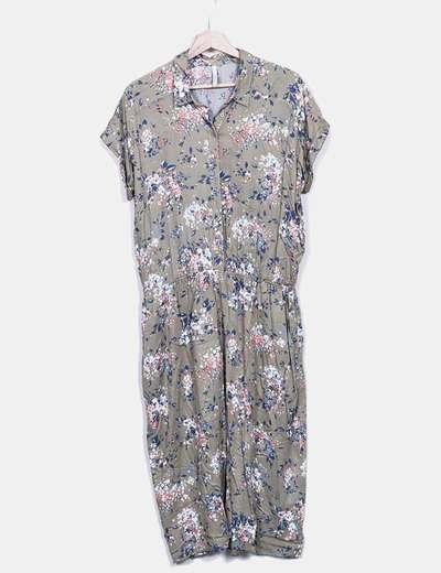 Robe verte à fleurs boutonnée kaki Pepe Jeans