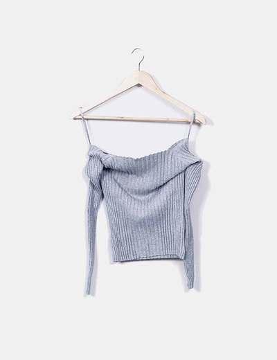 Jersey gris ceñido canalé