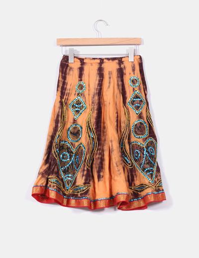Falda naranja y marron con lentejuelas azules