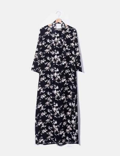 Robe noire maxi à fleurs NoName