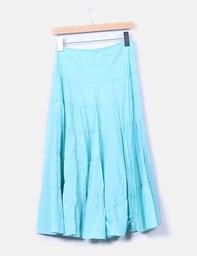 Falda maxi turquesa