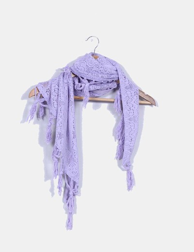 Pañuelo crochet lila Suiteblanco
