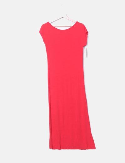 Vestido maxi rojo manga corta