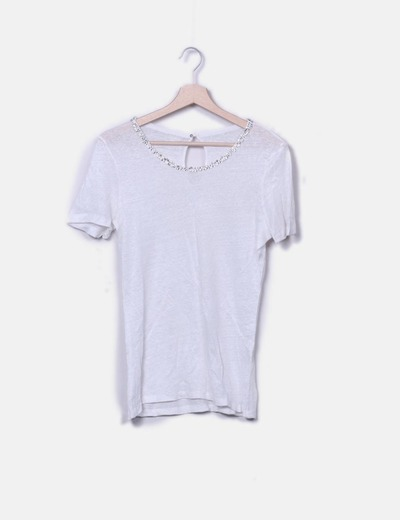 Camiseta blanca abalorios