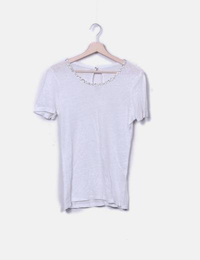 White t-shirt beads Massimo Dutti