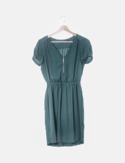 Vestido verde de manga corta
