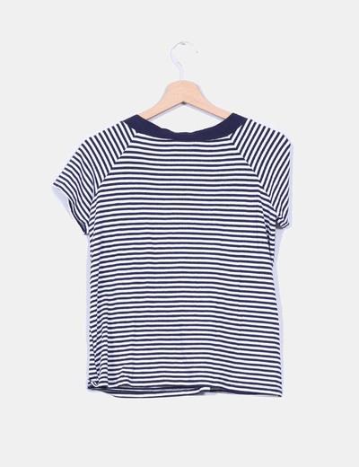 Camiseta manga corta estampado marinero detalle nudo en escote