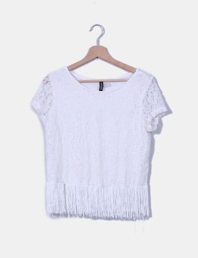 Top blanco de encaje con flecos H&M