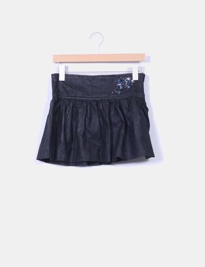 Falda mini negra detalle abalorios y lentejuelas Bershka