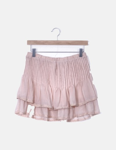 89ba38256 Mini falda plisada rosa palo con volantes