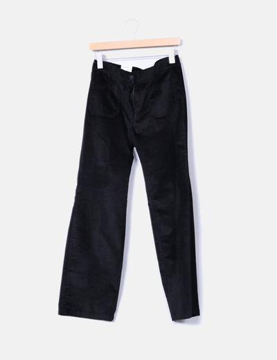 Pantalón negro satinado recto Zara